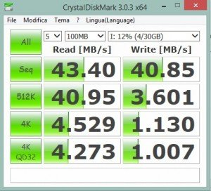 Prova con CrystalDiskMark 3 SD Sandisk Extreme 32GB