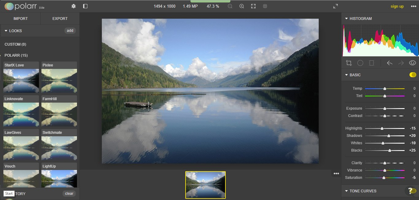 Polarr 2.0 editor gratuito online per RAW alternativo a Lightroom