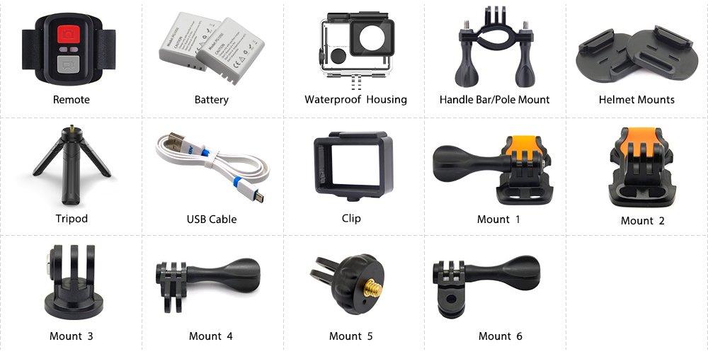 Recensione-Eken-H6s-accessori Recensione Eken H6s action cam 4k economica con stabilizzatore e telecomando